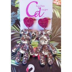 Pendientes osos glitter