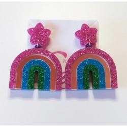 Pendientes arco iris glitter