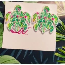 Pendientes tortuga verde