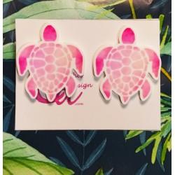 Pendientes tortuga rosa