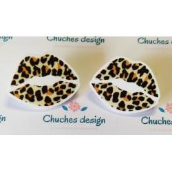 Pendientes besos leopardo