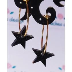 Mini aros dorado estrella